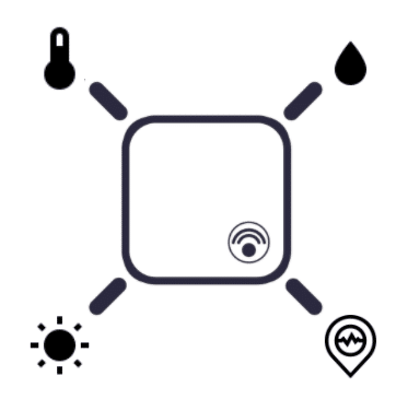 Illustration of sensor with icons for temperature, relative humidity, shock, and light