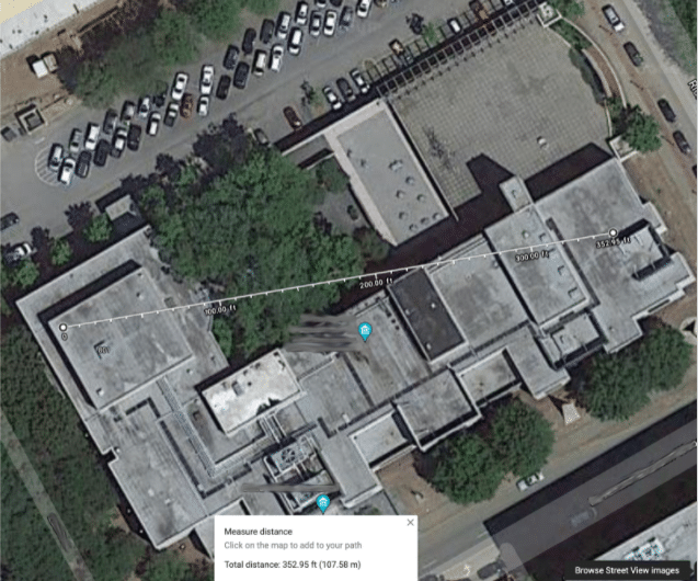 Google image birds-eye view of a museum showing the distance a sensor is from the gateway